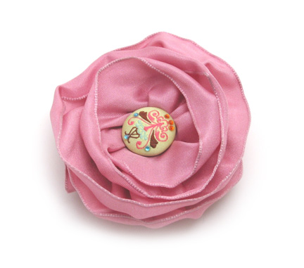 Fabric flower hair clip fabric flower barettes fabric flowers pink flower hair clip mightylinksfo